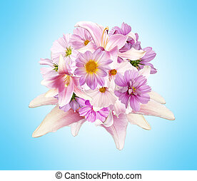 Beautiful bouquet pink flowers