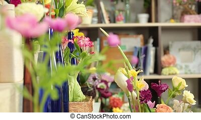Beautiful bouquets of colorful spring flowers close up