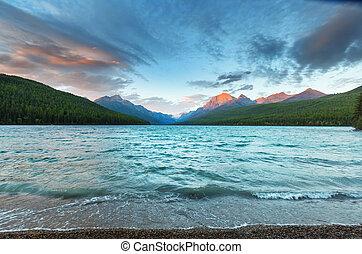 Bowman lake - Beautiful Bowman lake with reflection of the ...