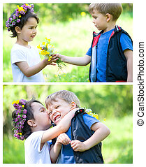 Beautiful boy and girl in a park, boy giving flowers to the girl