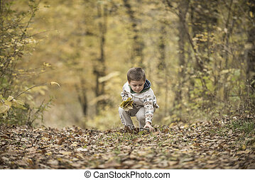 Beautiful boy playing in a forest