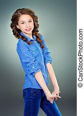 beautiful braids - Cheerful girl with braids. Education. ...