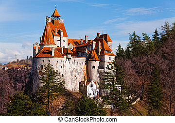 Bran Castle (Dracula castle) in Transylvania and Wallachia from hilltop in Romania