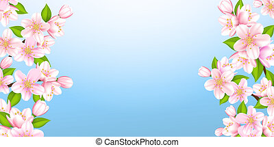 Beautiful branches of Sakura - Vector illustration beautiful...