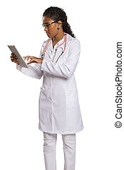 Beautiful Brazilian black female doctor on white background