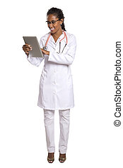 Beautiful Brazilian black female doctor on white background