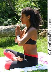 Beautiful brazilian woman in yogapose