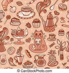 Beautiful breakfast seamless pattern