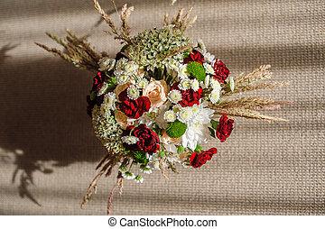 Beautiful bridal bouquet elegant table