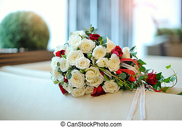 Beautiful bridal bouquet of white roses