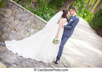 beautiful bride and groom summer spring caucasian