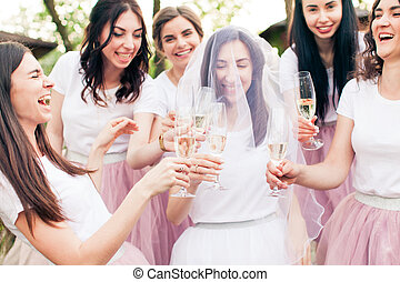 Beautiful bride and happy bridesmaids celebrating hen-party