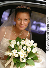 Beautiful bride - Beautiful the bride in car