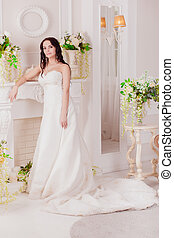 Beautiful bride brunette alone