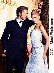 beautiful bride - Charming bride and groom on their wedding ...