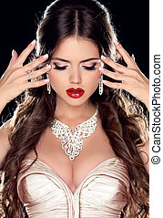 Beautiful Bride. Fashion Beautiful Girl Model with Jewelry...