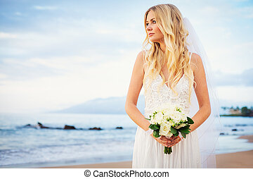 Beautiful Bride, Gorgeous Woman on Tropical Beach at Sunset with Flower Bouquet