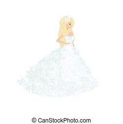 beautiful bride in an elegant wedding dress