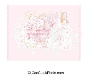 Beautiful bride in Paris card