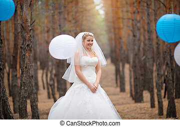 beautiful bride in the forest