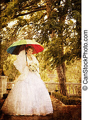 Beautiful bride in the park.
