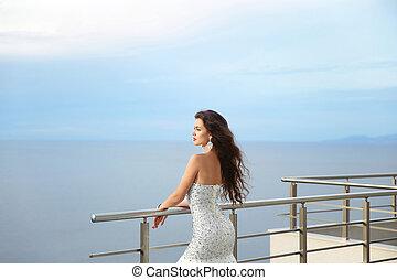 Beautiful Bride in wedding dress, outdoor portrait