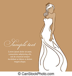 Beautiful bride in white dress. vector illustration