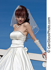 beautiful bride in white on bridge (2)