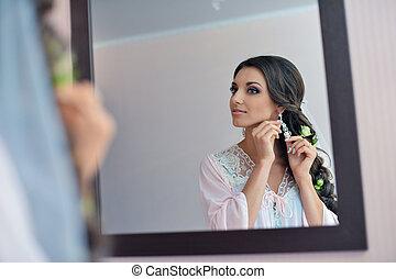 beautiful bride is standing