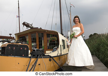 Beautiful bride ready to get aboard