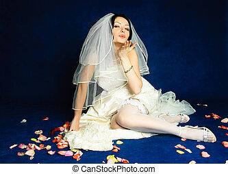 beautiful bride sending an air kiss