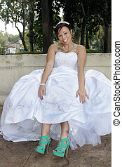 Beautiful Bride Shows Her New Shoes