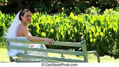 Beautiful bride smiling at camera s
