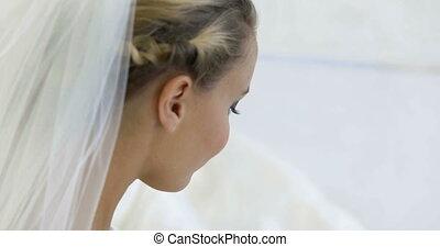 Beautiful bride smiling naturally