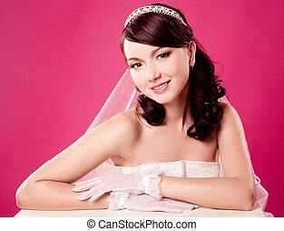 beautiful bride - beautiful happy bride, sitting by the...