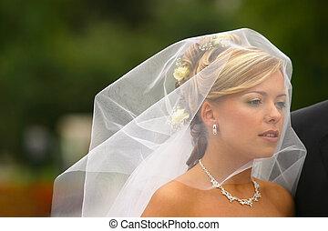 Beautiful bride - The beautiful bride in movement under a...