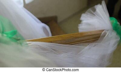 beautiful bride walking down stairs in flawless dress