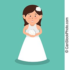 beautiful bride wedding with bouquet flowers design graphic