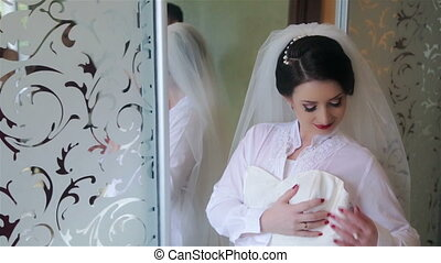 Beautiful bride with wedding dress