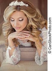 Beautiful bride woman indoor portrait. Makeup and wavy hair ...