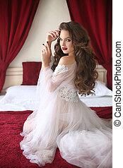 Beautiful Bride woman wedding Portr - Beautiful brunette...