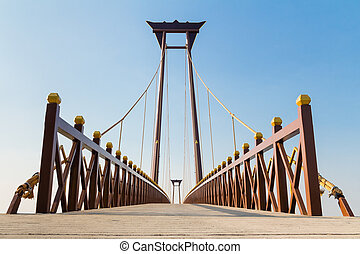 Beautiful bridge against blue sky background