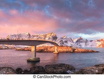 Beautiful bridge at sunrise in Lofoten, Norway
