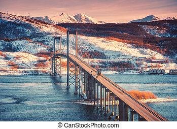 Beautiful bridge at sunset in Lofoten islands, Norway