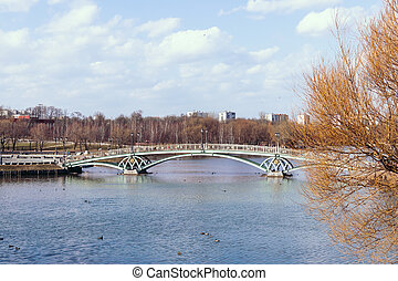 Beautiful bridge on the lake at autumn time. Caricino park, Moscow, Russia.