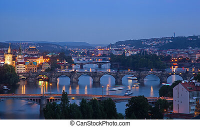 Beautiful bridges above Vltava, Prague