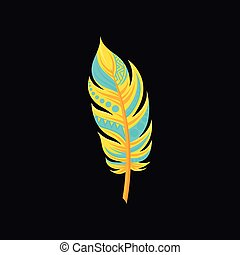 Beautiful bright bird turquoise and yellow feather vector Illustration on a black background