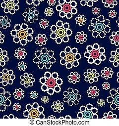 Beautiful bright geometric flowers seamless pattern on a navy blue background.