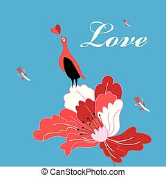 Beautiful bright greeting card with bird in love on a flower