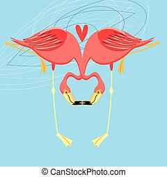 Beautiful bright greeting card with flamingos in love